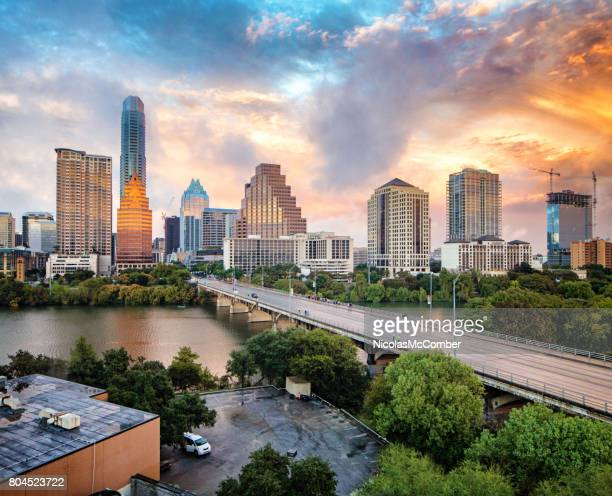 Downtown Austin skyline at sunset elevated view with Colorado river