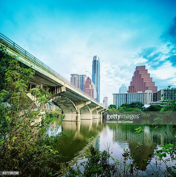 Downtown Austin Texas with Colorado river and Congress bat bridge