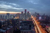 Downtown Beijing Skyline at Evening Rush Hour