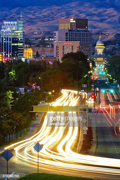 Downtown Boise at dusk with traffic light trails