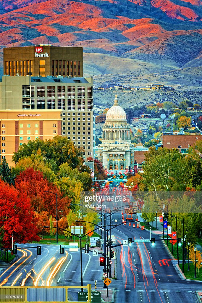 Downtown Boise, Idaho, at golden hour