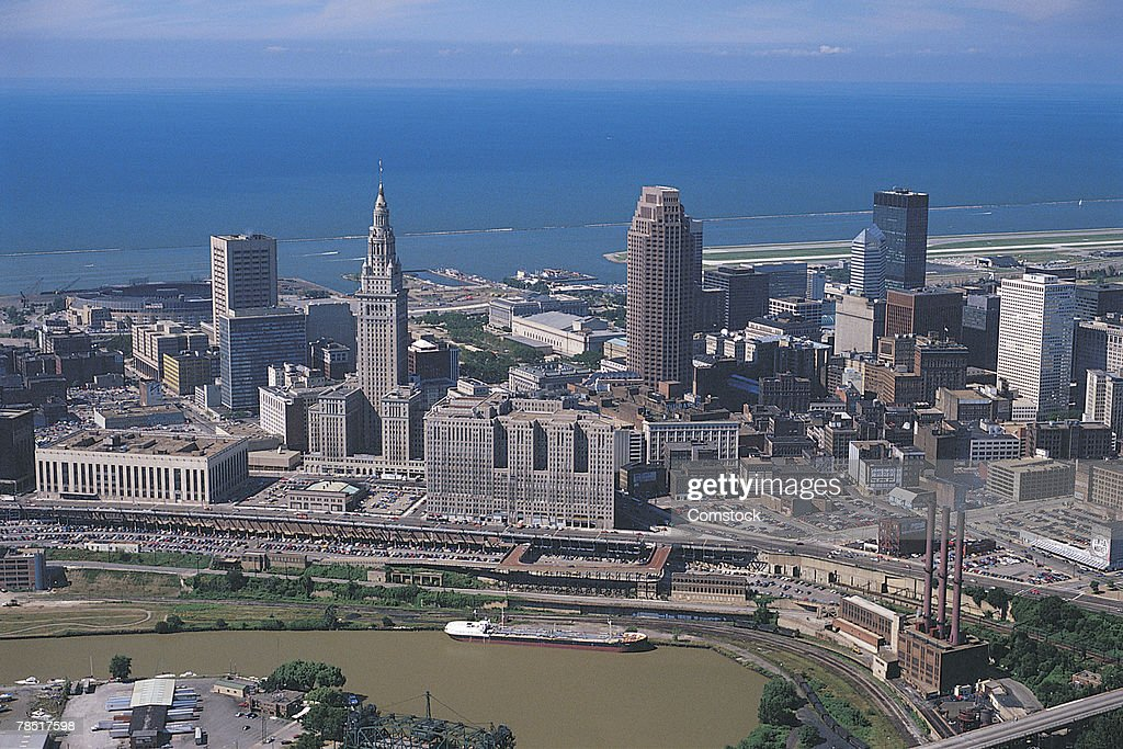 Downtown buildings and Lake Erie , Cleveland , Ohio