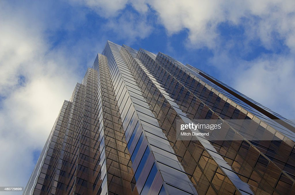 Downtown buildings with cloud reflections : Stock Photo