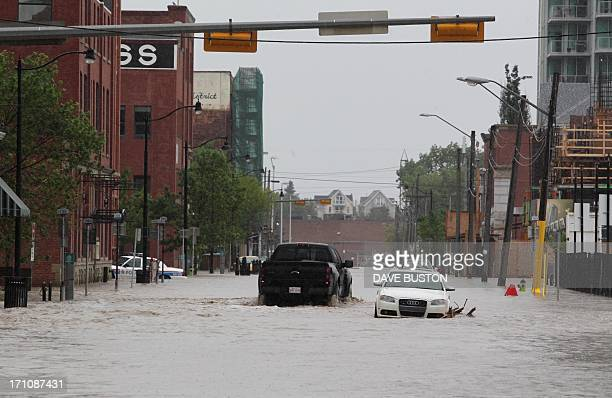 Downtown Calgary stands flooded with rising waters from torrential rain and swollen rivers in Calgary Alberta Canada June 21 2013 Flooding forced the...