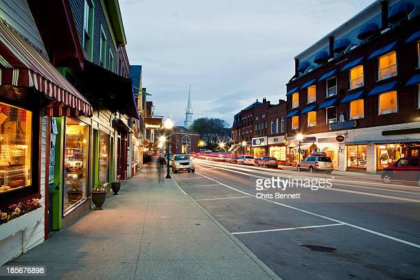 Downtown Camden, Maine is seen at twilight.