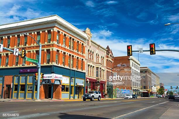 In der Innenstadt von Cheyenne-Straßenszene