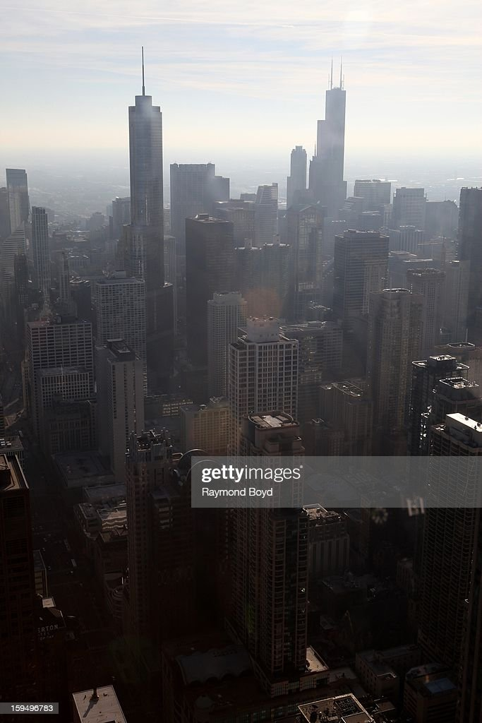 Downtown Chicago, as photographed from the observatory deck of The John Hancock Center in Chicago, Illinois on JANUARY
