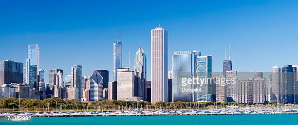 Downtown Chicago City Skyline in Illinois USA