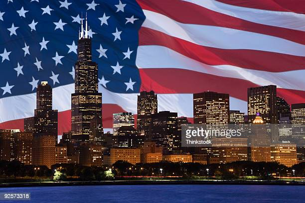 Downtown Chicago composite with American flag