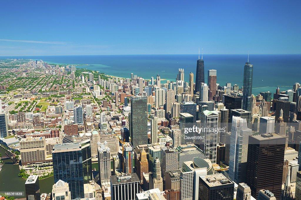 Downtown Chicago, Lake Michigan, and lakefront neighborhood skyline aerial : Stock Photo