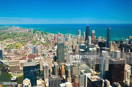 Downtown Chicago, Lake Michigan, and lakefront neighborhood skyline aerial