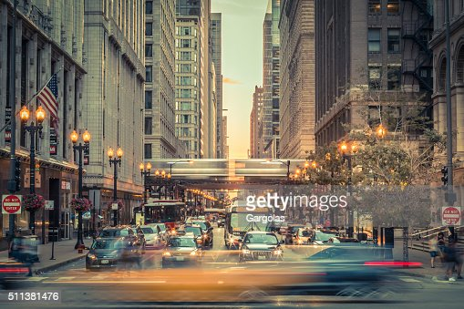Downtown Chicago traffic, Illinois