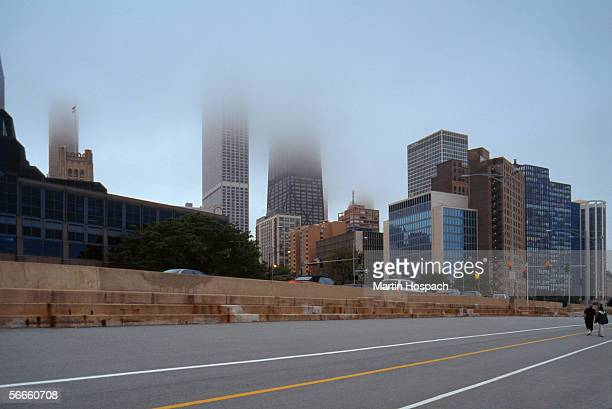 Downtown Chicago, USA, in fog