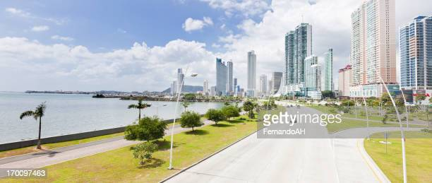 Downtown city view of Panama city with roadside by water