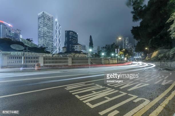 downtown cityscape at night of Hong Kong