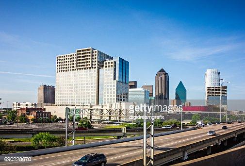 downtown dallas texas city skyline and surroundings : Stock Photo