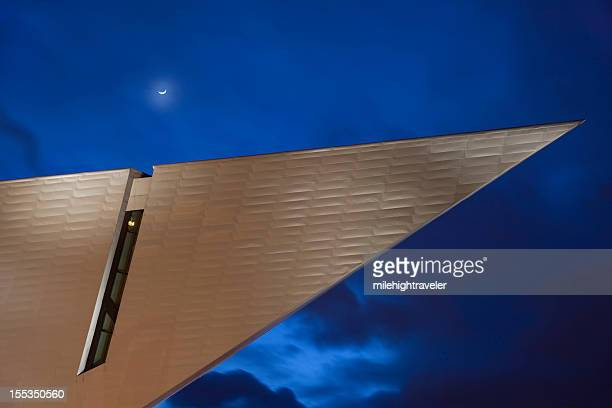 Downtown Denver Art Museum with moon at Night Colorado