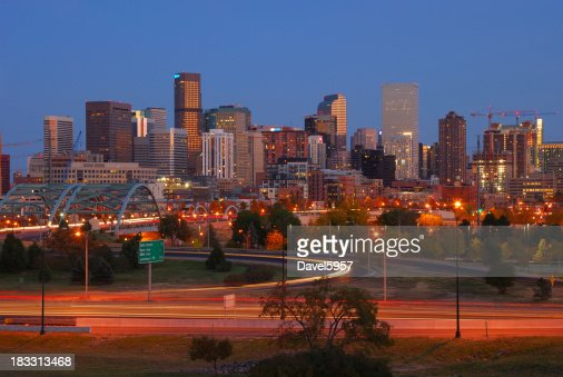 Downtown Denver skyline at dusk