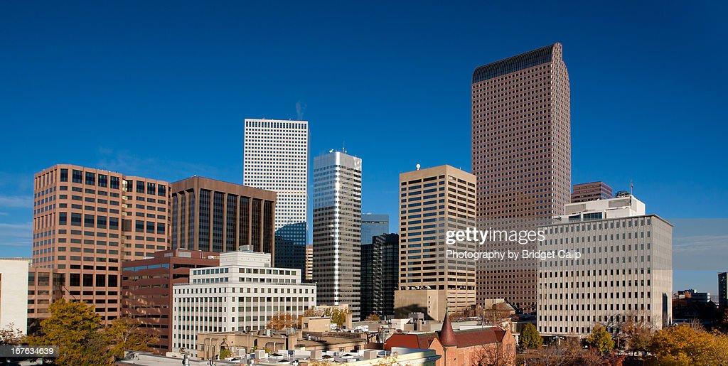 Downtown Denver Skyline With Clear Blue Sky