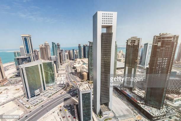 Downtown Doha Qatar Aerial Modern Skyscrapers