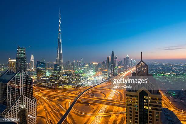 Downtown Dubai cityscape skyline at twilight