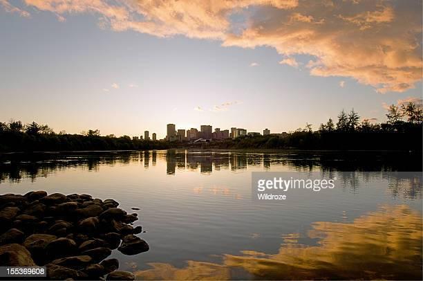 Downtown Edmonton skyline at sunset