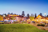 Stock photograph of Bond park and businesses in downtown Estes Park Colorado USA during Autumn.