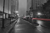 Downtown film noir fog