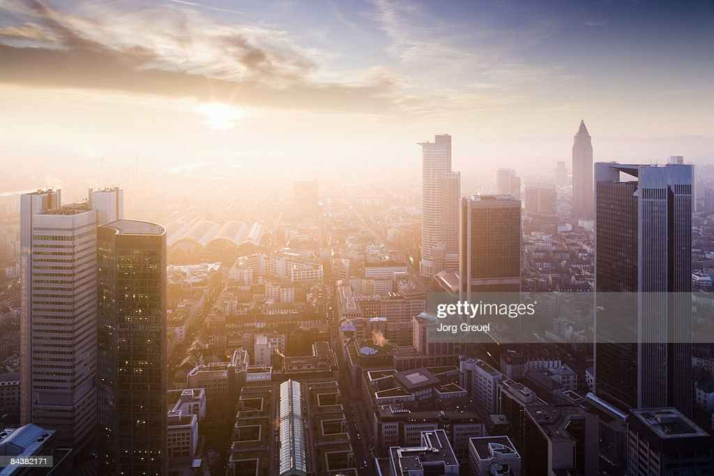 Downtown Frankfurt (sunset) : Stock Photo