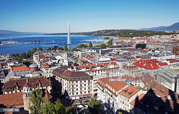 Downtown Geneva and Jet d'Eau