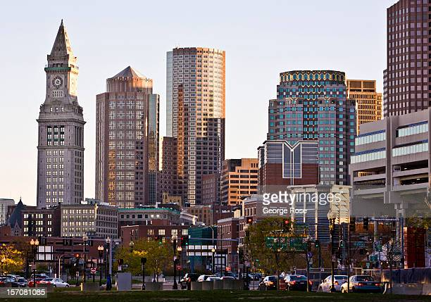 Downtown highrise buildings are seen from the North End on November 4 2012 in Boston Massachusetts Despite a global recession that has lasted five...