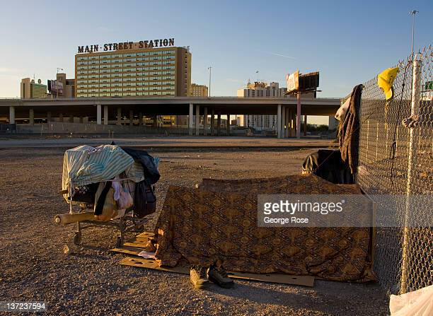 A downtown homeless encampment is a short distance from the Main Stree Station casino on December 25 2011 in Las Vegas Nevada Though tourism is...