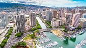 Downtown Honolulu Hawaii Aerial