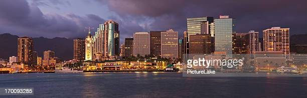 Downtown Honolulu, Hawaii dusk skyline