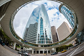 Fisheye view on Business District in Downtown Houston, Texas, USA.