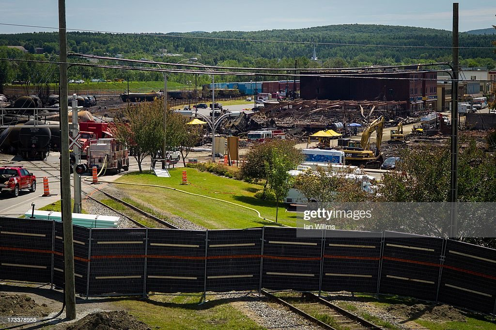 Downtown is shown July 12 2013 in LacMegantic Quebec Canada A train derailed and exploded into a massive fire that flattened dozens of buildings in...