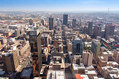 Aerial view of downtown Johannesburg with view of Gandhi Square and City Hall.