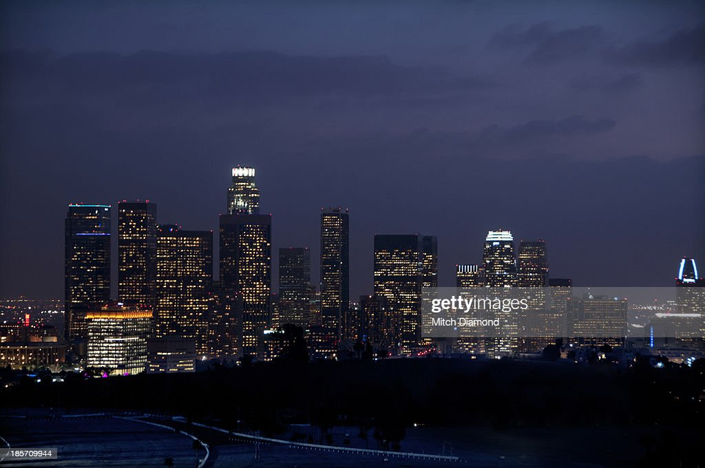 Downtown L,A. In the evening and night : Stock Photo