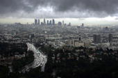 Downtown Los Angeles and Hollywood are visible during a short break in the rain as the region is under a tornado watch and Orange County is under a...