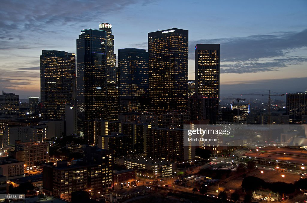 Downtown Los Angeles at night : Stock Photo