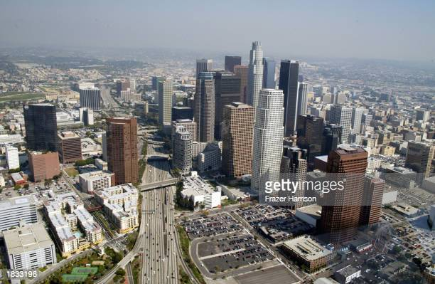 Downtown Los Angeles is photographed March 6 2003 in Los Angeles California