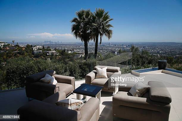 Downtown Los Angeles is seen from the balcony of 1181 N Hillcrest Road at Trousdale Estates in Beverly Hills California US on Wednesday Sept 17 2014...