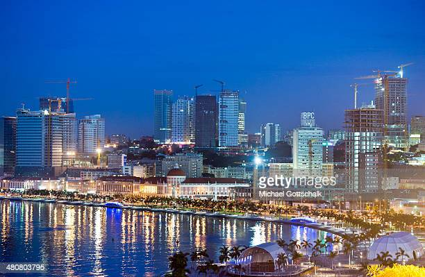 Downtown Luanda beach during sunset on March 26 2014 in Luanda Angola