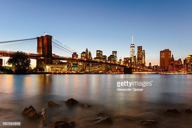 Downtown, Manhattan and Brooklyn bridge at night