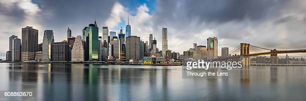 Downtown Manhattan and Brooklyn Bridge during Dawn