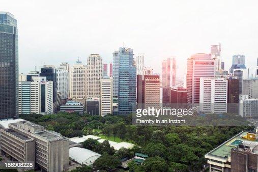 Downtown Manila  Makati skyline and traffic