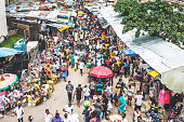 Street market crowd at Lagos Island's commercial district.