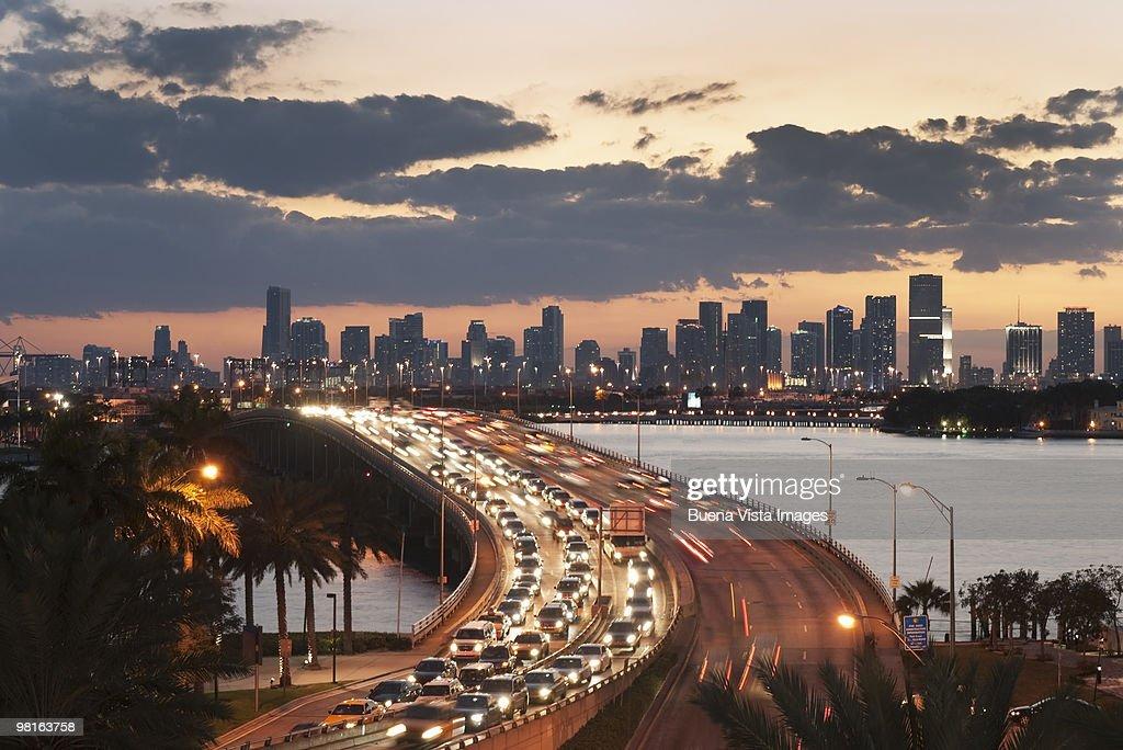 Downtown Miami and MacArthur Causeway : Stock Photo