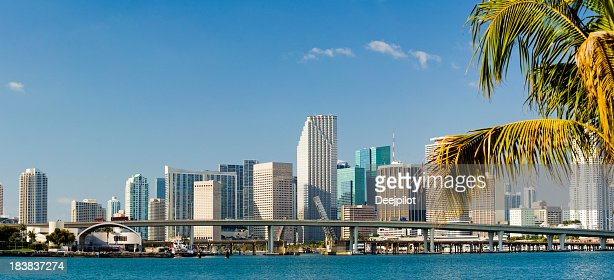 Downtown Miami City Skyline In Florida USA