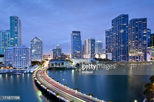 Downtown Miami Illuminated at Dusk
